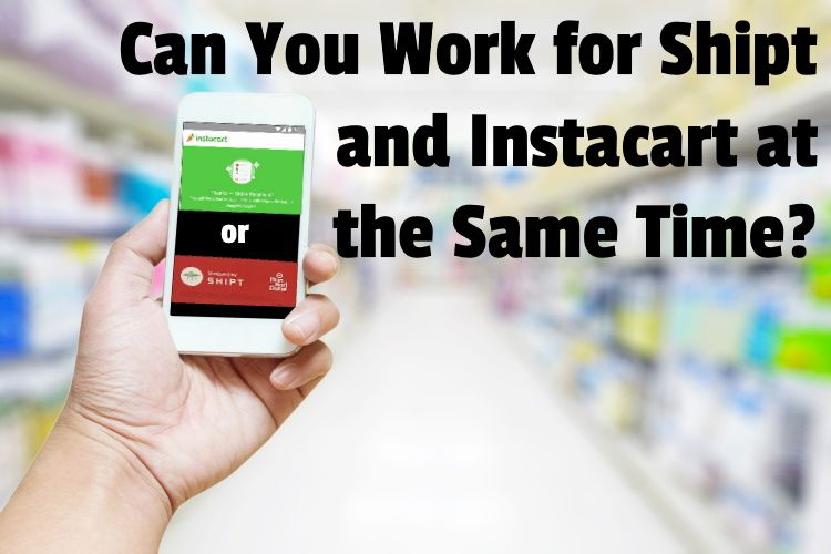 hand use smart phone on blurred photo of supermarket shelf background clipping path screen include