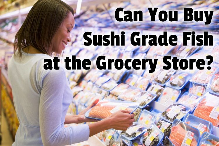 Woman buying pack of salmon in supermarket